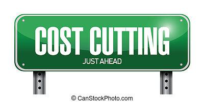 cost cutting road sign illustration design