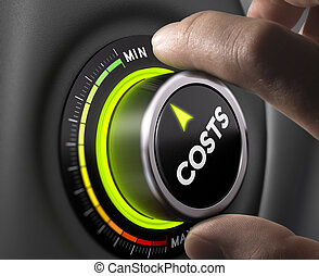 Cost Management - Man fingers setting cost button on minimum...