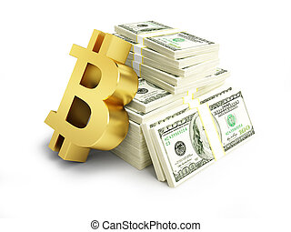 cost of bitcoin in dollars on a white background 3D illustration, 3D rendering