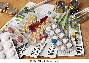 Cost of drugs - Several drugs and Euro money on a table.