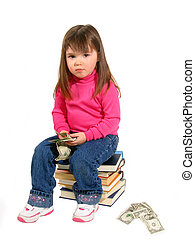 Cost Of Education - Toddler sitting on books  money