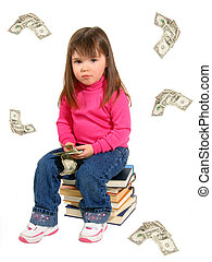 Cost Of Education - Toddler sitting on books with falling...
