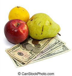 cost of food fruit and money on white - Fresh fruit on white...