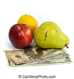 cost of food fruit and money