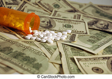 Cost of Healthcare - A prescription bottle of white pills ...