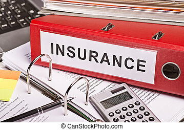 Cost of insurance - Red file folder with the label insurance...