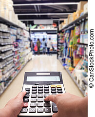 Cost of living concept in supermarket