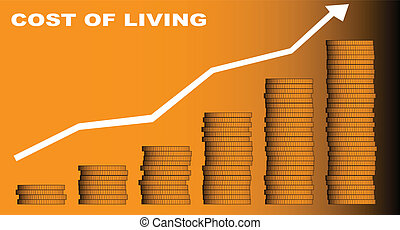 Cost of Living - A stack of coins and an arrow pointing...