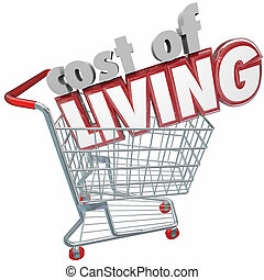 Cost of Living 3d words in a shopping cart to illustrate a shopper paying higher prices for goods, services, products and merchandise due to inflation, budget and economy