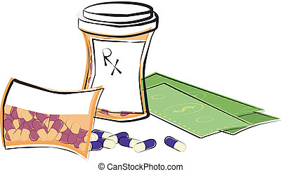 Cost of Medicine - Bottles of prescription medication and...