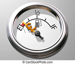 Cost of petrol - Illustration of fuel gauge showing low on...