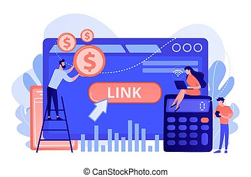 Cost per acquisition CPA model concept vector illustration....