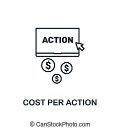 Cost Per Action outline icon. Thin line concept element from content icons collection. Creative Cost Per Action icon for mobile apps and web usage