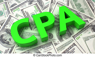 Cost per Action - Word CPA on the background of one hundred...