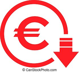 Cost reduction- decrease euro icon. Vector symbol image isolated on background.