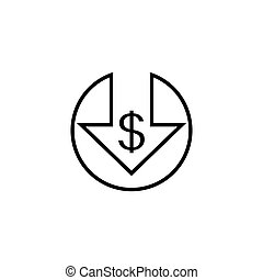 Cost reduction line icon isolated on white background. Vector illustration