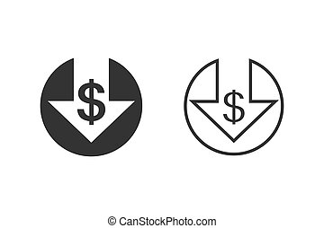 Cost reduction line icon set isolated on white background. Vector illustration