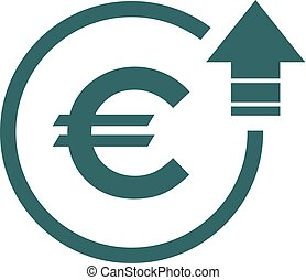 Cost symbol euro increase icon. Vector symbol image isolated on background .