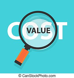 cost value concept business magnifying word focus on text