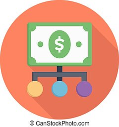 cost vector colour flat icon