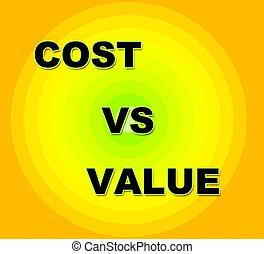 Cost Versus Value Words Portrays Spending vs Benefit...