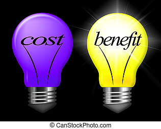 Cost Vs Benefit Light Means Comparing Price Against Value - 3d Illustration