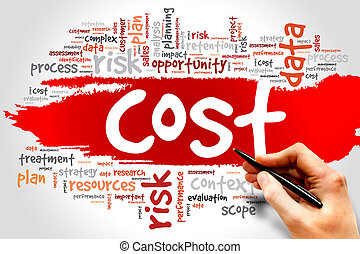 Word cloud of COST related items, presentation background