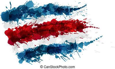 costa, 作られた, カラフルである, 旗, はねる, rica