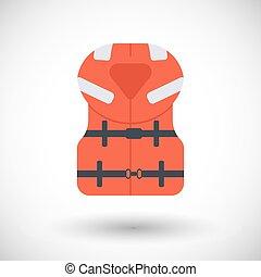 costa afuera, chaleco salvavidas, vector, plano, icono