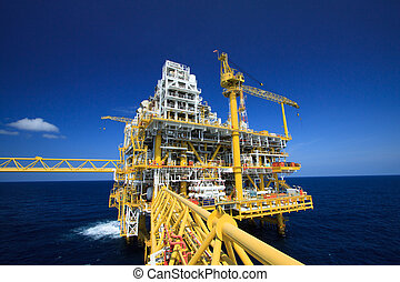 costa afuera, gas, plataforma, aceite
