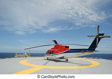 costa afuera, helicóptero, estacionamiento