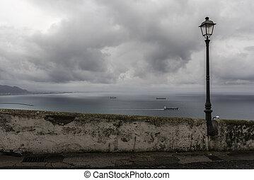 costa amalfi, -, vista, vietri, sul, cavalla, -, panorama