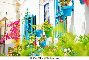 costa, andalucia., torremolinos., sol, del, 村, 白, スペイン, 典型的