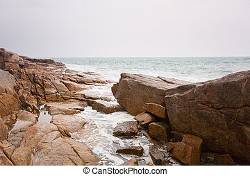 costa, bata, ondas, pedras