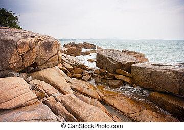 costa, bata, pedras, ondas