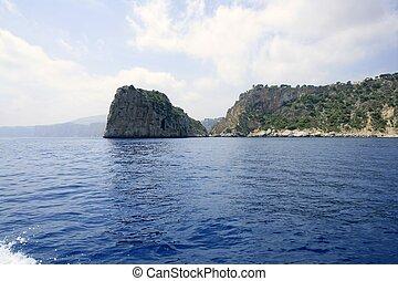 Costa Blanca coastline view from sea in Alicante province Spain