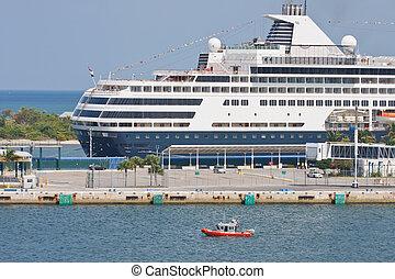 costa blu, guardia, crociera, bianco, oltre, nave, barca