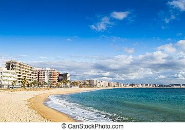 Beach landscape of Calonge, Costa Brava. Spain.