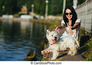 costa, cão, menina