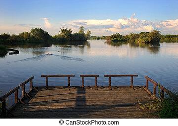 costa, cais, lago