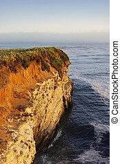 costa california, scogliera, a, tramonto