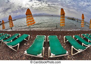costa, camas, mar, praia, prancha, vermelho