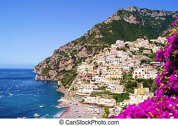 costa de amalfi, con, flores