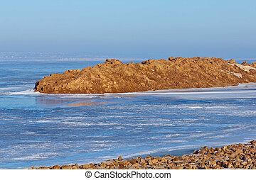 costa, de, antártica, oceano ártico, água