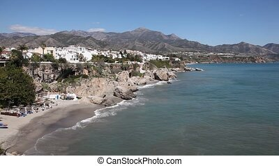 Costa del Sol beach in Spain - Costa del Sol beach in Nerja,...