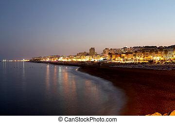 Costa del Sol (Coast of the Sun) at night, Malaga in...