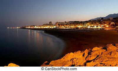 Costa del Sol (Coast of the Sun) at night, Malaga in Andalusia, Spain