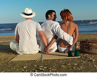 costa, enganando, namorado, mar, mulher