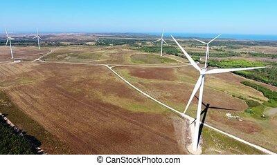 costa, flug, aus, aerial., video, vicentina., generatoren, schießen, sagres, wind