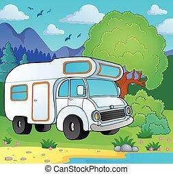 costa, furgão, lago, acampamento